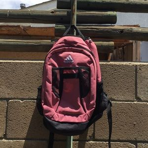 Pink and black adidas backpack